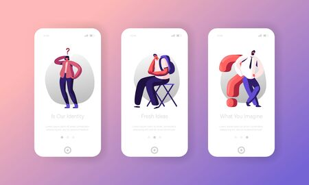 People Searching Information and Ideas Mobile App Page Onboard Screen Set. Characters with Question Marks Student, Girl and Businessman Concept for Website or Web Page Cartoon Flat Vector Illustration