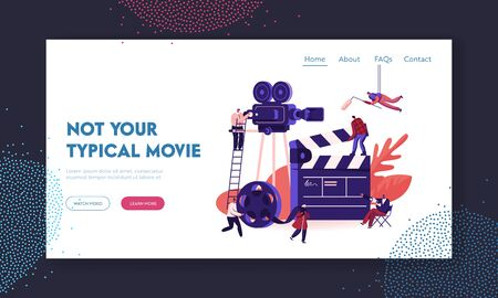 Movie Making Process Website Landing Page. Operator with Camera and Staff with Professional Equipment Recording Film with Actors. Director Megaphone Web Page Banner. Cartoon Flat Vector Illustration Stock Illustratie