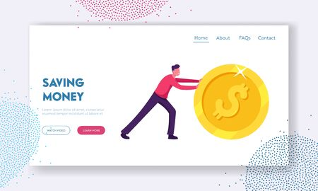 Earning, Saving and Investing Money Website Landing Page. Handsome Positive Businessman Rolling Huge Golden Dollar Coin. Financial Growth and Success Web Page Banner. Cartoon Flat Vector Illustration Vector Illustration