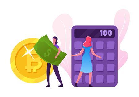 Succès financier. Les gens collectent et économisent de l'argent. Les personnages féminins portent des pièces de monnaie en dollars et en bitcoins et un budget de comptage de billets sur la calculatrice. Illustration vectorielle plane de dessin animé Vecteurs