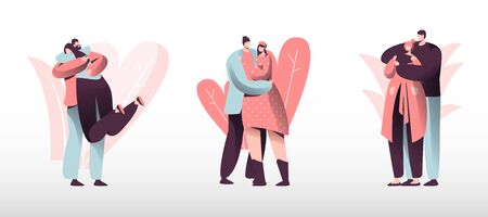 Loving Couples Set. Young Heterosexual People in Love Spend Time Together, Man and Woman Walking Outdoors, Hugging and Kissing. Romance Togetherness Harmony Relations. Cartoon Flat Vector Illustration Illustration