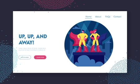 Superhero Couple Website Landing Page. Man and Woman Defenders Wearing Yellow Costumes and Red Cloaks Standing with Arms Akimbo on Building Roof. Web Page Banner. Cartoon Flat Vector Illustration Ilustração