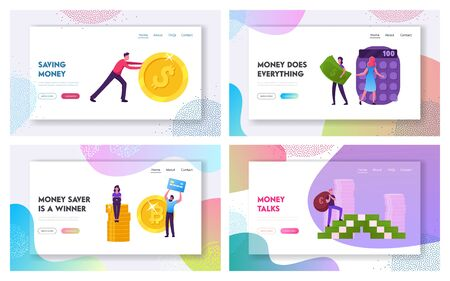 Finance Success, Money Wealth and Savings Website Landing Page Set. People Increase Capital, Count Budget. Financial Profit Growth Investment Income Web Page Banner. Cartoon Flat Vector Illustration
