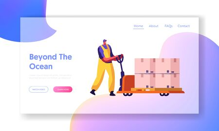 Cargo Transportation Storage Logistic Website Landing Page. Worker Driving Hand Truck with Stack of Boxes with Barcode. Export and Import Merchandise Web Page Banner. Cartoon Flat Vector Illustration Ilustracje wektorowe