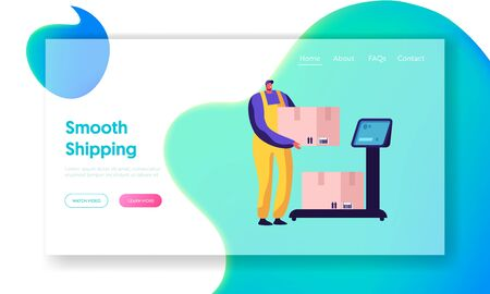 Storehouse Storage Logistics, Delivery Transportation Service Website Landing Page. Worker in Warehouse Put Carton Parcel Box on Floor Scales for Weigh Web Page Banner Cartoon Flat Vector Illustration