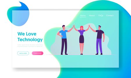 Business Colleagues Giving High Five in Office Website Landing Page. Business People Rejoice for Good Job, Successful Project, Victory Goal Achievement Web Page Banner. Cartoon Flat Vector Illustration