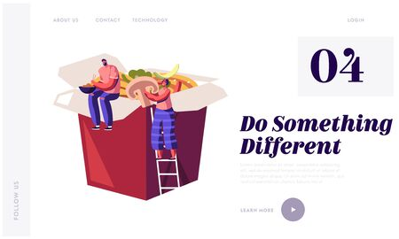 Chinese Food Website Landing Page. Tiny People Sitting on Huge Takeaway Wok Box with Noodles and Vegetables. Man and Woman Having Asian Lunch Meal Web Page Banner. Cartoon Flat Vector Illustration