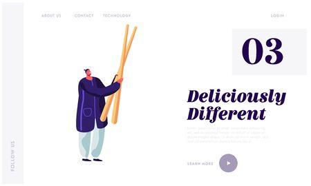 Customer in Chinese Restaurant Website Landing Page. Hipster Man Holding Huge Wooden Chopsticks Prepare to Eat Oriental Cuisine, Asian Food Cafe Web Page Banner. Cartoon Flat Vector Illustration Illusztráció