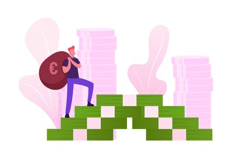 Young Man in Casual Clothing with Bag Climbing on Huge Money Banknotes Ladder Holding Sack with Euro Sign on Back. Banker Agent Character Profit Savings and Investment Cartoon Flat Vector Illustration