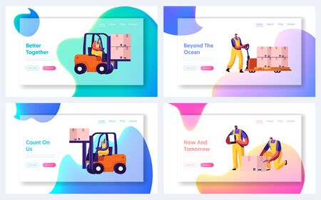 Cargo Logistics, Shipping Service Website Landing Page Set. Workers Loading Freight in Warehouse Using Forklift Trucks and Handtrucks. Goods Shipment Web Page Banner. Cartoon Flat Vector Illustration Stock fotó - 133530148