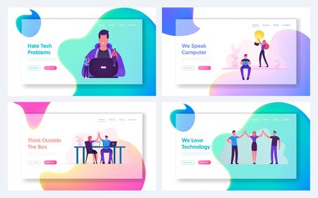 Coding Work and Highfive Website Landing Page Set. Programmer Coder Developing Software for Computer or Mobile App, Business People Celebrate Success Web Page Banner. Cartoon Flat Vector Illustration