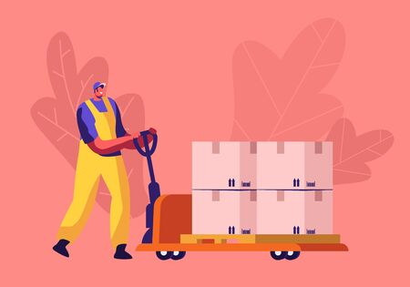 Worker in Uniform Driving Hand Truck with Stack of Carton Boxes with Barcode and Arrow Signs. Cargo Transportation Storage Logistic Concept. Export Import Merchandise Cartoon Flat Vector Illustration Ilustração