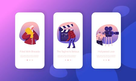 Cinematograph Industry Mobile App Page Onboard Screen Set. Operator with Camera, Staff with Clapperboard Recording Film. Movie Making Concept for Website or Web Page, Cartoon Flat Vector Illustration