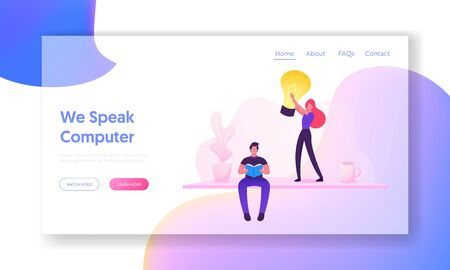 Man Reading Book Website Landing Page. Girl Holding Light Bulb. Office Worker or Employee Work on Software Development and Testing or Program Coding Web Page Banner. Cartoon Flat Vector Illustration