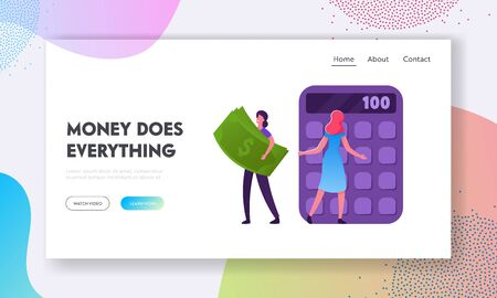 People Making Investments and Savings, Conducting Budget Website Landing Page. Girl Carry Huge Money Banknote. Woman Counting on Calculator. Finance Web Page Banner. Cartoon Flat Vector Illustration