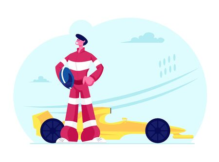 Kart Racer in Uniform Holding Helmet Posing near his Car on Karting Track. Extreme Auto Sport Competition, Road Trophy Race Championship, Driver Racing on Go Kart. Cartoon Flat Vector Illustration