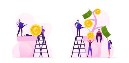 L'homme d'affaires a mis la pièce de monnaie dans le sol, femme arrosant la plante en pot. Personnages ramassant des pièces d'or et des billets de l'arbre de l'argent Profit financier Investissement Revenu bancaire Cartoon Illustration vectorielle plane