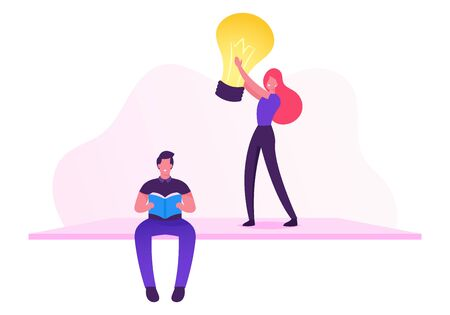 Man Programmer or Coder Reading Book about Computers, Girl Holding Light Bulb. Office Worker or Employee Work on Software Development and Testing or Program Coding. Cartoon Flat Vector Illustration