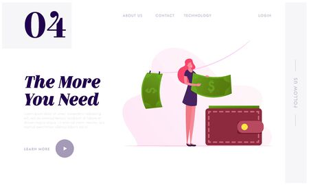Washing and Drying Money Website Landing Page. Woman Put Banknotes in Wallet after Laundering and Illegal Criminal Process in Offshore. Corruption Web Page Banner. Cartoon Flat Vector Illustration