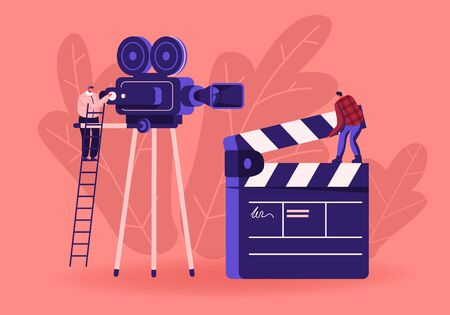 Cinema and Cinematography Industry Concept with Moviemakers and Videocamera. Operator Shooting Scene on Camcorder, Assistant with Clapper Indicating Numbers of Takes Cartoon Flat Vector Illustration Vektorové ilustrace