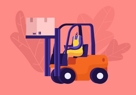 Worker Lifting Cargo on Forklift Machine in Warehouse. Freight Shipping and Logistics Concept. Employee in Uniform and Helmet Deliver Goods or Parcels to Storehouse. Cartoon Flat Vector Illustration  イラスト・ベクター素材