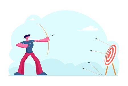 Business Strategy and Goals Achievement Concept. Businessman Archer Shooting to Huge Target Holding Bow with Arrow. Aims Mission Opportunity Challenge Task Solution Cartoon Flat Vector Illustration