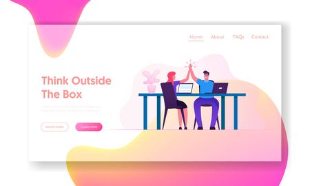 Business Deal Triumph Success Website Landing Page. Colleagues Couple Sitting at Desk Giving High five to Each Other after Goal Achievement and Support Web Page Banner. Cartoon Flat Vector Illustration