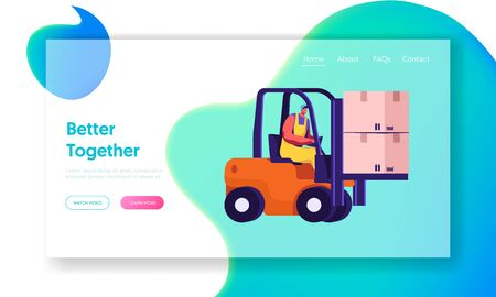 Cargo Logistics and Warehouse Service Website Landing Page. Worker Driving Forklift with Cardboard Parcel Boxes Delivering Freight to Storage Depot Web Page Banner. Cartoon Flat Vector Illustration Ilustração