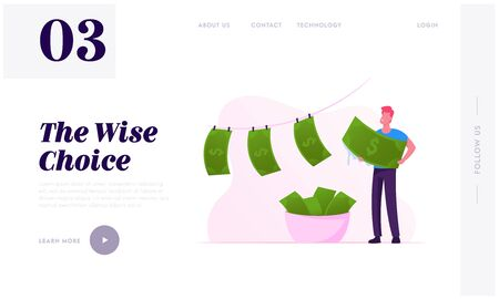 Political or Finance Corruption Website Landing Page. Person Laundering Cash Money. Economical Crime With Tax Payment. Dishonesty and Unfair Oligarch Web Page Banner Cartoon Flat Vector Illustration Ilustración de vector