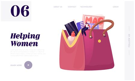 Tiny Woman Sitting on Huge Female Cosmetician Bag Full of Different Things and Belongings as Mobile Phone, Cosmetics and Magazine Website Landing Page, Web Page Banner Cartoon Flat Vector Illustration
