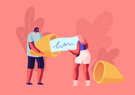 Tiny Man and Woman Holding Huge Fortune Cookie Reading Forecasting on Piece of Paper. Surprised Message inside of Bake. Chinese Traditional Food, Prediction for Future Cartoon Flat Vector Illustration Illustration