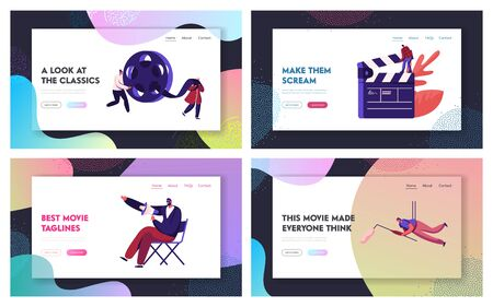 Film Scene Shooting Process with Staff and Equipment Website Landing Page. Director with Megaphone, Video Operator with Camera, Assistant with Bobbin Web Page Banner. Cartoon Flat Vector Illustration
