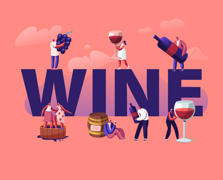 Wine Producing and Drinking Concept. Male and Female Characters with Bottle and Glass Grow Organic Grapes Produce Natural Vine Production Poster Banner Flyer Brochure. Cartoon Flat Vector Illustration Çizim