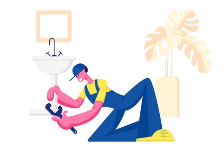 Handy Man in Blue Overalls and Cap Fixing Broken Sink in Bathroom at Home. Husband for an Hour Repair Service. Call Master Fix Sanitary at Work. Plumber Occupation Cartoon Flat Vector Illustration