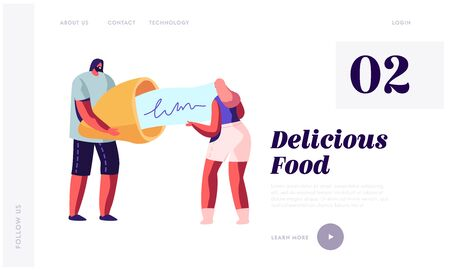 Chinese Traditional Food, Prediction for Future Website Landing Page. Tiny Man and Woman Hold Huge Fortune Cookie Reading Forecasting on Piece of Paper Web Page Banner Cartoon Flat Vector Illustration