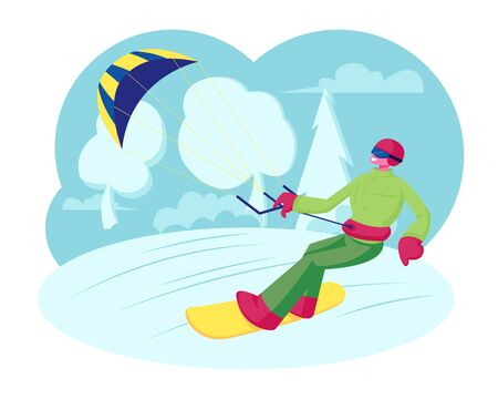 Sportsman Snowboarder in Colorful Wear, Helmet and Goggles Holding Kite Riding Fast by Icy Surface. Winter Time Outdoors