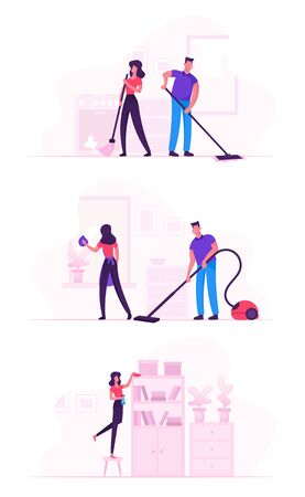 Couple in Household Housekeeping Activity. Everyday Routine of Home Duties and Chores, House working Characters