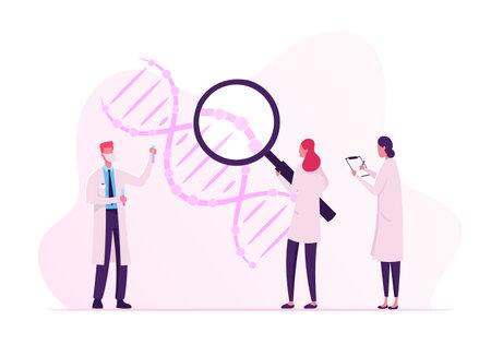 Científicos que trabajan con ADN mirando a través de una enorme lupa y tomando notas. Doctor con matraz haciendo laboratorio Ilustración de vector