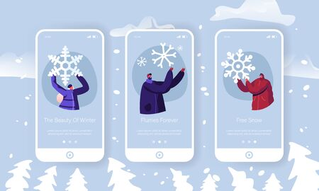 Winter Time Outdoors Spare Time Mobile App Page Onboard Screen Set. Happy People Hold Huge Snowflake Playing