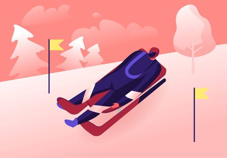 Luger in Sportswear and Helmet Lying on Sleigh Face Up Going Downhills with High Speed between Yellow Flags on Sticks