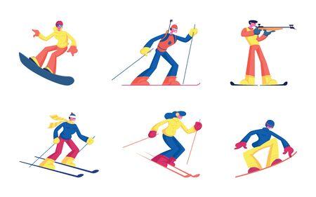 Set of Winter Kinds of Sport Activities Isolated on White Background. Skiing Snowboarding Biathlon Sportsmen