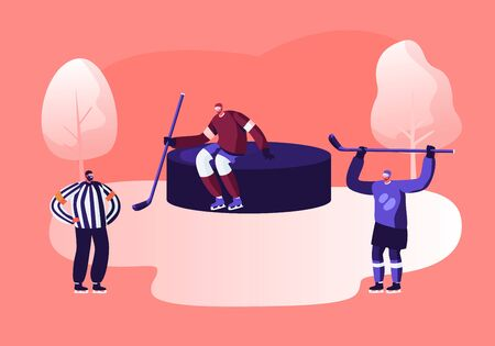 Young Hockey Player Characters in Team Uniform Holding Sticks Standing at Huge Puck, Referee Judging Game Illustration