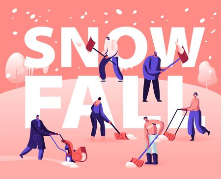 Snowfall Concept. Happy People Shoveling and Removing Snow from Street Using Shovel and Snowblower for Cleaning Road  イラスト・ベクター素材