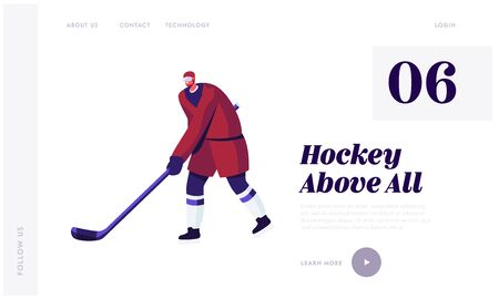 Hockey Winter Tournament Website Landing Page. Attacking Sportsman in Protective Sportswear Leading Puck