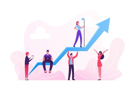 Business Characters Team Working around Huge Growing Arrow. Leader Stand on Top with Hoisted Flag, Business people Illustration