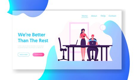 Teamwork Process Website Landing Page. Businesswoman with Coffee Stand near Man Sitting at Desk Working on Laptop