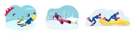 Set of Ski kiting Snowboard kiting Bobsleigh and Ski Slalom Sports Activities. Sportsmen Riding Skis and Snowboard Illustration