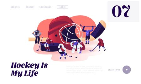 Hockey Competition Website Landing Page. Men in Sports Uniform with Sticks Practicing Hockey Game. Players on Ice Rink