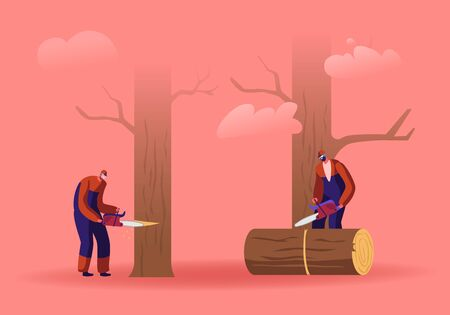 Two Men Loggers Sawing Logs and Trees in Forest. Wood Industry Workers with Saw in Hands Working. Lumberjacks Cut Timberwood, Woodcutter Occupation, Profession Job. Cartoon Flat Vector Illustration