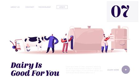 Milk Production Manufacturing, Farm Industry Website Landing Page. Milking and Beverage Pasteurization Process. Quality Products Industrial Management Web Page Banner. Cartoon Flat Vector Illustration